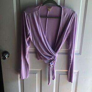 Light purple wrap around long sleeve crop top